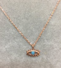 Blue Evil Eye Wholesale Necklace Rose Gold Plated Pendant