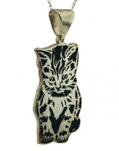 Cat Design Turkish Wholesale Silver Necklace