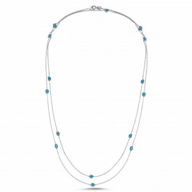 Long Chain Beaded Wholesale Evil Eye Turkish Blue Beads Silver Necklace