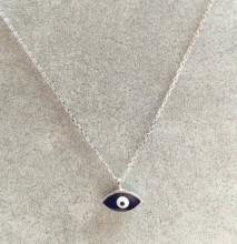 Dark Blue Evil Eye Mini Necklace Pendant Wholesale Silver 925