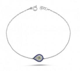 Evil Eye CZ Bracelet Wholesale Turkish Silver