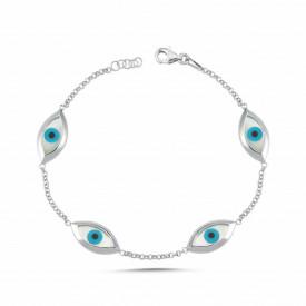Wholesale Mother of Pearl Evil Eye 925 Silver Bracelet