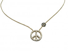 Wholesale Peace Sign Evil Eye Silver Turkish Necklace