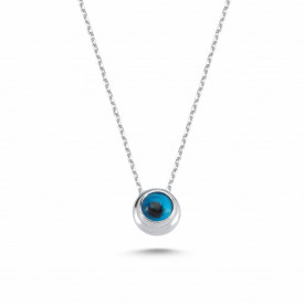 Blue Beaded Evil Eye Silver Wholesale Necklace Pendant