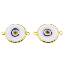 Double Side Hook White Ceramic Evil Eye Bead