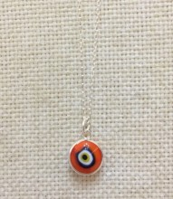 Red Luckyeye Glass Bead Silver Necklace