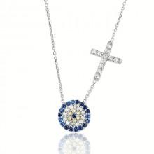 Wholesale Cross Design Evil Eye Silver Necklace Pendant