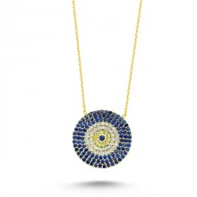 Wholesale Turkish Blue Evil Eye Large Necklace Pendant Silver 925