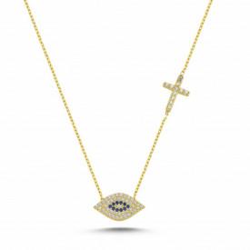 Cross Evil Eye Design Necklace Wholesale Sterling Silver 925