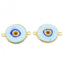 Double Side Hook Baby Blue Ceramic Evil Eye Bead