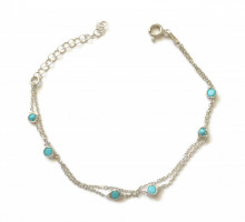 Turquise Blue Chain Wholesale Turkish Silver Bracelet