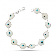 White Evil Eye Wholesale Glass Bead Silver Bracelet
