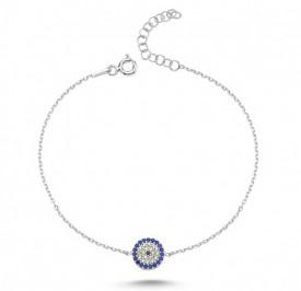 Wholesale 925 Silver Turkish Blue Evil Eye Bracelet