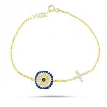 Wholesale Cross Design Turkish Evil Eye Silver Bracelet