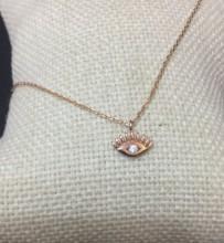 Wholesale Tiny Turkish CZ Evil Eye Gold Necklace
