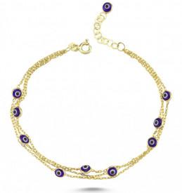 Blue Beads Evil Eye Charm Wholesale Turkish Silver Bracelet