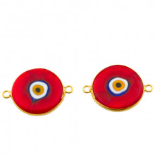 Double Side Hook Red Ceramic Evil Eye Bead