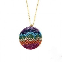 Multicolor Stone Wholesale Round Evil Eye Silver Necklace Pendant