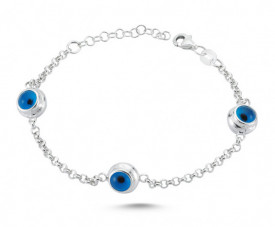 Wholesale Evil Eye Blue Beads Silver Bracelet