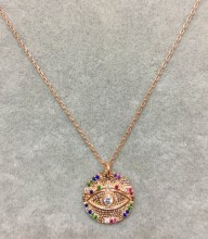Wholesale Evil Eye Jewelry Rose Gold Turkish Necklace