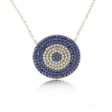 Wholesale Turkish Blue Evil Eye Large Necklace Silver 925