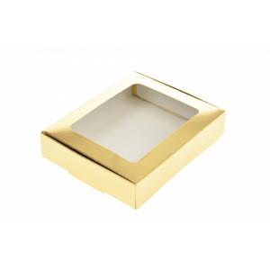 Cutie CARTON AURIU cu display pentru prajituri 28x22x5 cm