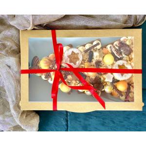 Cutie carton natur cu display pentru prajituri 28x22x5 cm
