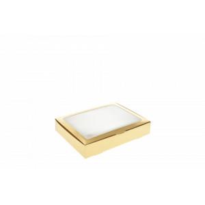 Cutie carton auriu cu display pentru prajituri 30x20x7 cm