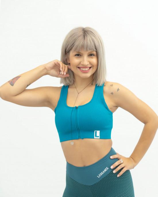 Bustiera fitness, Zip Turquoise