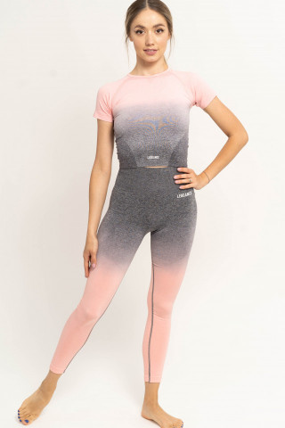 Compleu fitness , Tricou + Colanti, Energy Pink-Grey