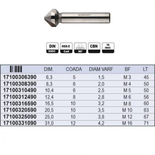 Tesitor conic DIN 335 forma C 90º HSS-E - 1710