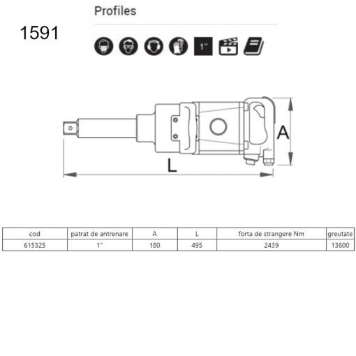 """Pistol pneumatic 1"""" - 1591"""