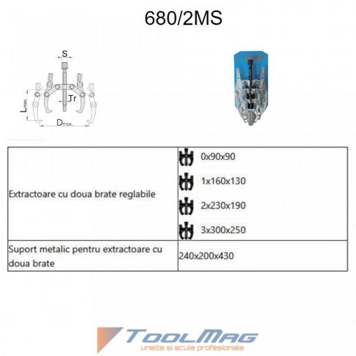 Set extractoare cu doua brate reglabile - 680/2MS
