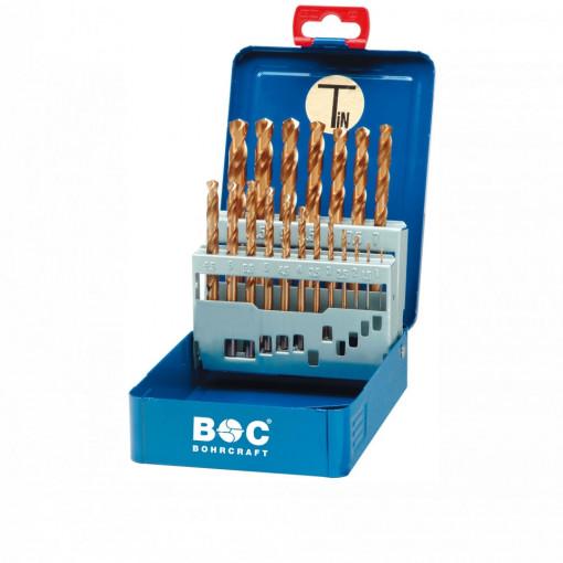 Trusa burghie DIN 338, HSS-TiN rectificate, 1.0-13.0mm x 0.5mm, 25 piese, MT13 - BOHRCRAFT