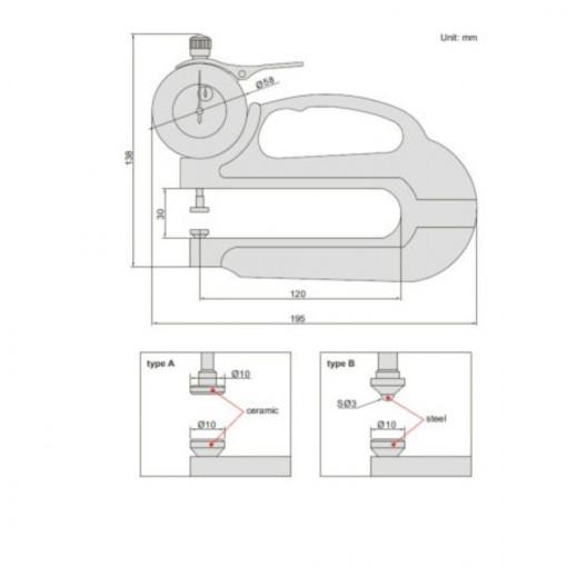 Dispozitiv cu ceas comparator pentru masurat grosimi 2365-10