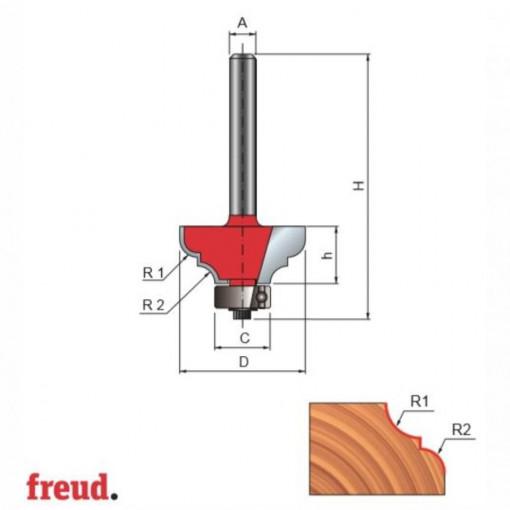 Freza profilata concav convex, cu tesire intre ele, cu rulment copier inferior, placata CMS, Z2, cu coada - 38- - FREUD Italia
