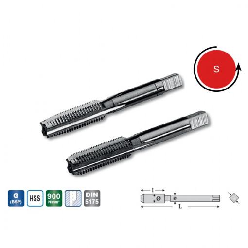 Set tarozi filet pentru tevi de gaz DIN ISO 228, DIN 5157 HSS-G filet pe stanga