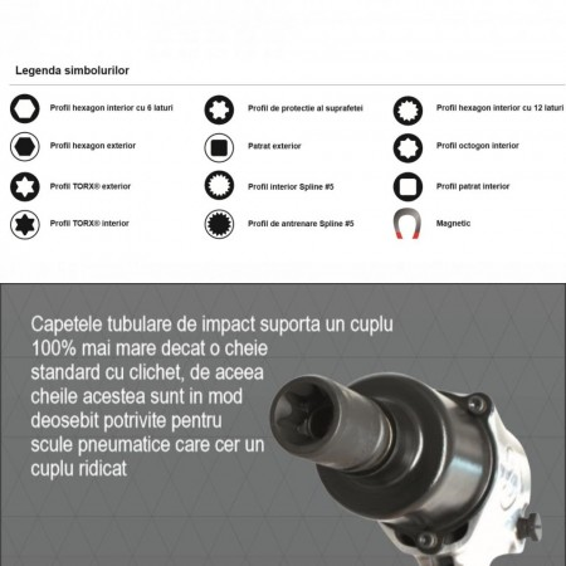 "Capete chei tubulare de IMPACT cu profil hexagonal exterior 1/2"" - 231/4AHX"