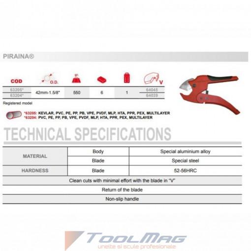 Dispozitiv de taiat tevi plastic , DIM 42 mm - PIRAINA