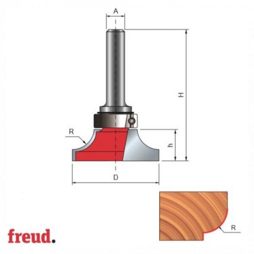 Freza profilata concav 1/4 C, cu rulment copier superior, placata CMS, Z2, cu coada - 23- - FREUD Italia