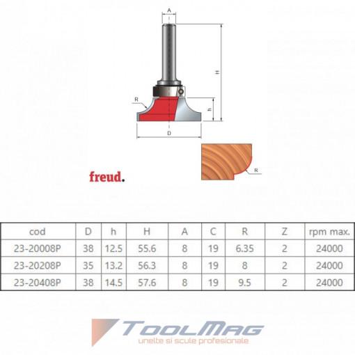 Freza profilata concav 1/4 C, cu rulment copier superior, placata CMS, Z2, cu coada - 23-