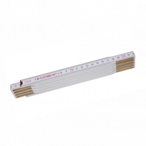 Metru lemn fag 2 m imbinari din otel si nituri ascunse culoare alb - Profi 10 W - METRIE