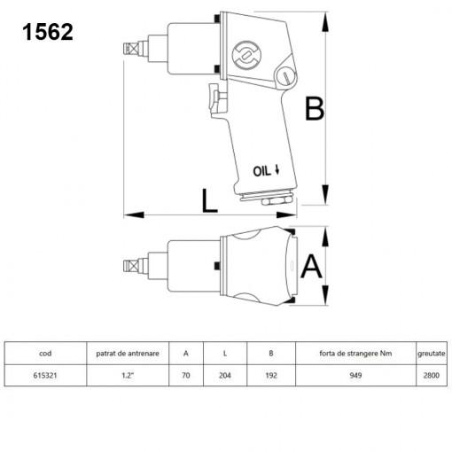 """Pistol pneumatic 1/2"""" - 1562"""