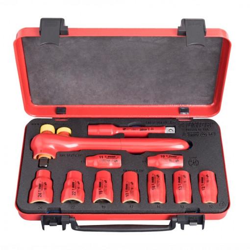 """Set de capete chei tubulare 1/2"""" izolate la 1000 V in cutie metalica - 190VDE6P11A - Unior"""