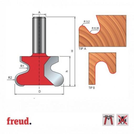 Freza pentru profil maner sertare mobilier, placata CMS Z2, cu coada - 99-00712P - FREUD Italia