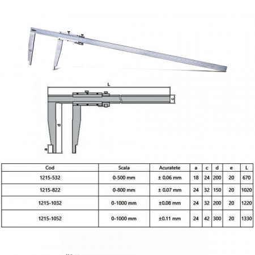 Subler mecanic cu varfuri lungi si reglaj fin - 1215 - Insize detalii