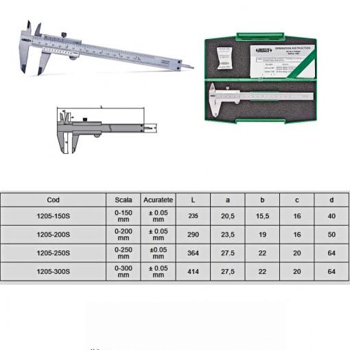 Subler mecanic de exterior-interior cu tija de adancime - 1205 - Insize detalii