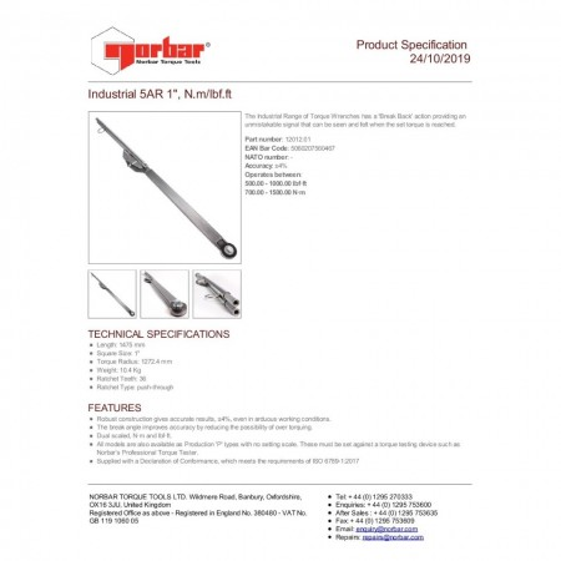 Cheie dinamometrica industriala 5AR