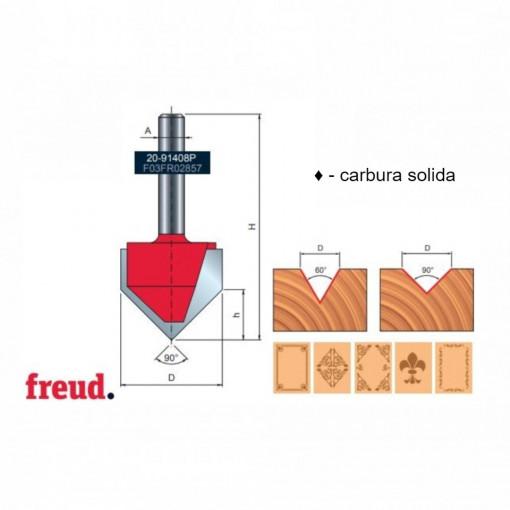 Freza profilata in V pentru gravura, placata CMS, cu coada, Z1, Z2, Z3 - 20- FREUD Italia