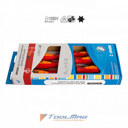 Set de surubelnite izolate la 1000 V profil TORX - 621CS6VDETBI